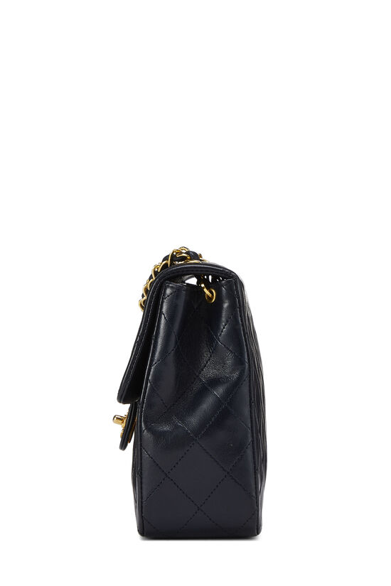Navy Quilted Lambskin Half Flap Small, , large image number 2
