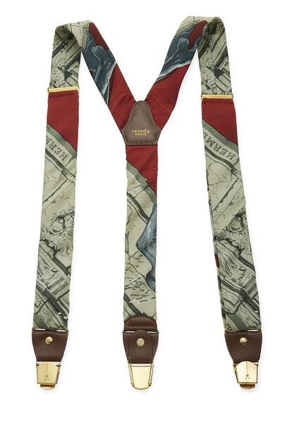Green & Multicolor Silk Motif Suspenders, , large