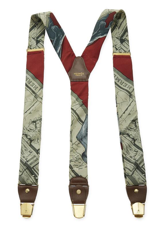Green & Multicolor Silk Motif Suspenders, , large image number 1