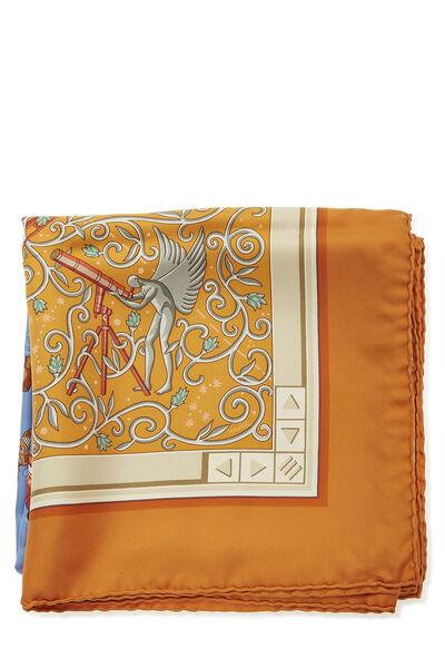 Orange & Multicolor 'www.hermes.com' Silk Scarf 90, , large