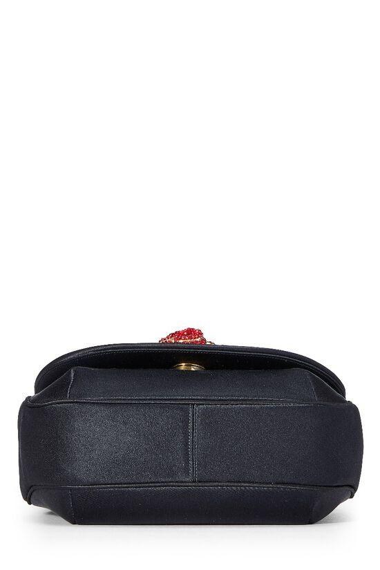 Black Satin Floral Embellished Shoulder Bag, , large image number 4