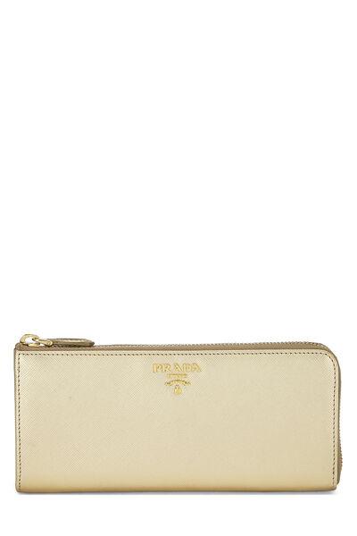 Gold Saffiano Zip Around Wallet