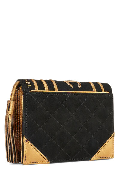 Black Quilted Suede Bible Clutch , , large