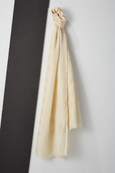 Cream Monogram Silk Scarf