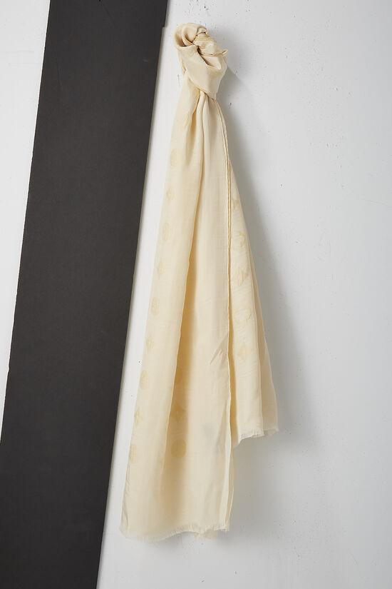 Cream Monogram Silk Scarf, , large image number 0