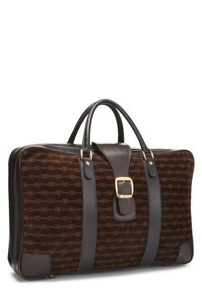 Brown Suede Logo Suitcase, , large