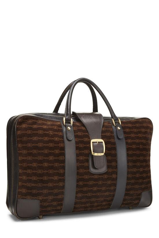 Brown Suede Logo Suitcase, , large image number 1