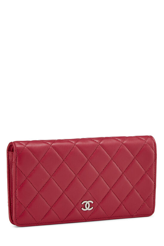 Pink Quilted Lambskin Long Wallet, , large image number 1