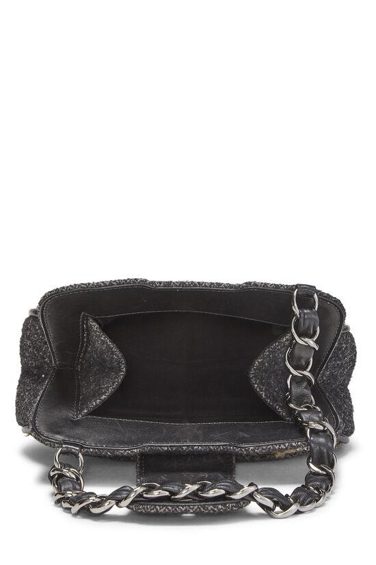 Black & Beige Tweed Shoulder Bag, , large image number 5