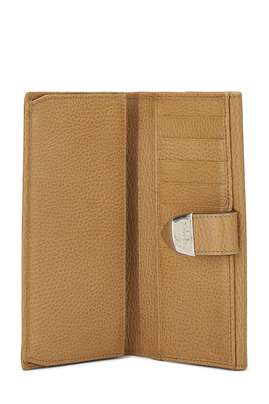 Beige Grained Leather Tab Wallet, , large image number 3