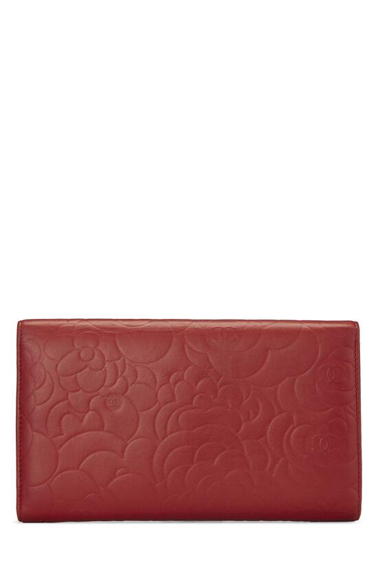 Red Camellia Lambskin Organizer Wallet, , large image number 2