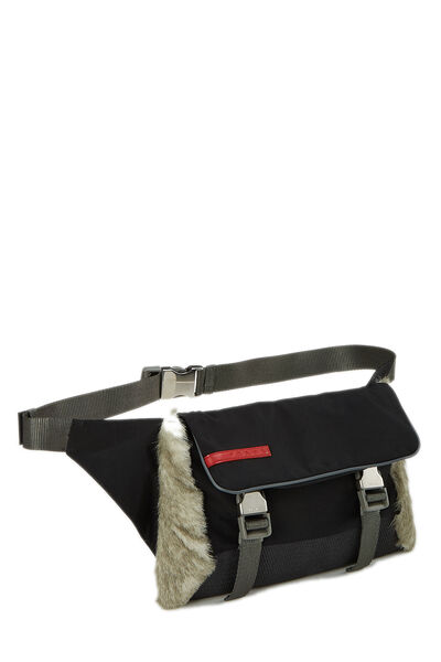 Black Nylon & Fur Sport Belt Bag, , large