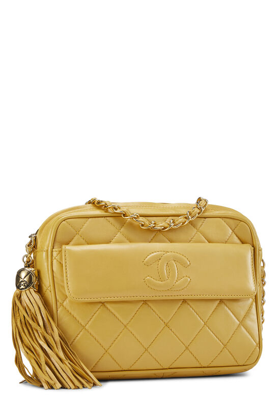 Yellow Quilted Lambskin Pocket Camera Bag Mini, , large image number 2