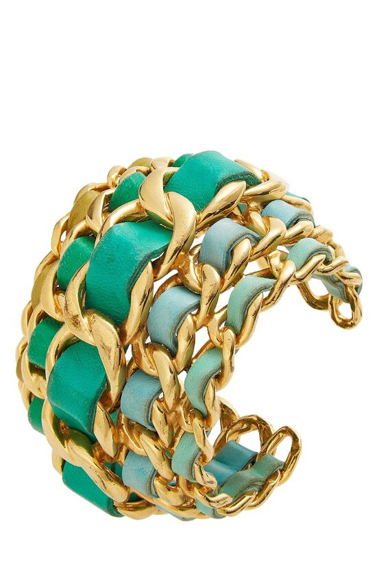 Gold Chain & Turquoise Leather Cuff, , large image number 0