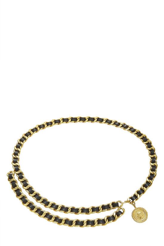 Gold & Black Leather Chain Belt 2, , large image number 0