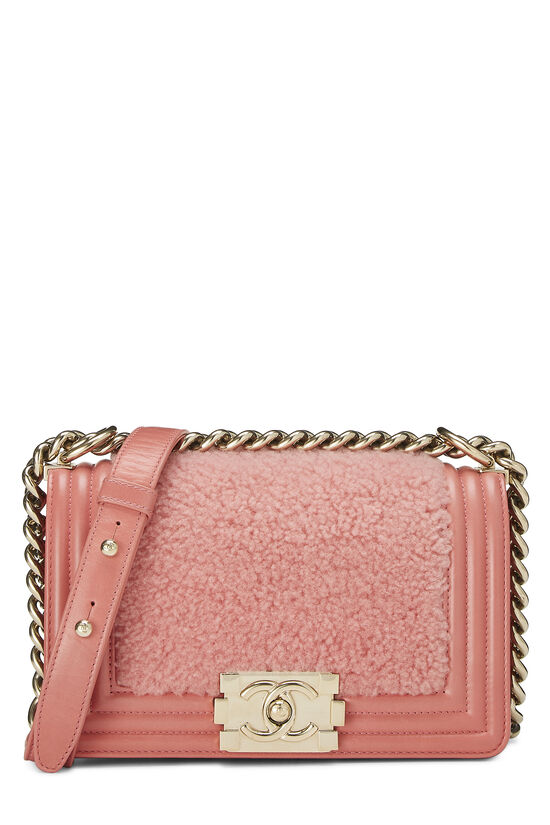 Pink Shearling Boy Bag Small, , large image number 0