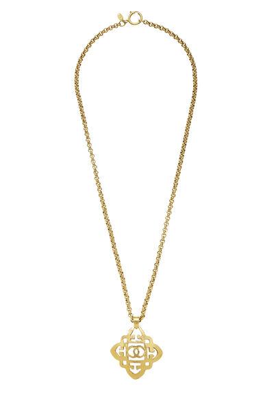 Gold Quatrefoil 'CC' Necklace