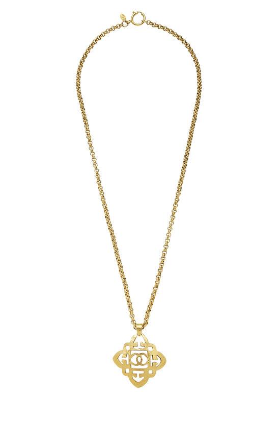Gold Quatrefoil 'CC' Necklace, , large image number 0