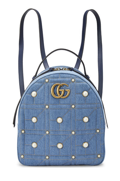 Blue Denim 'GG' Marmont Backpack Small