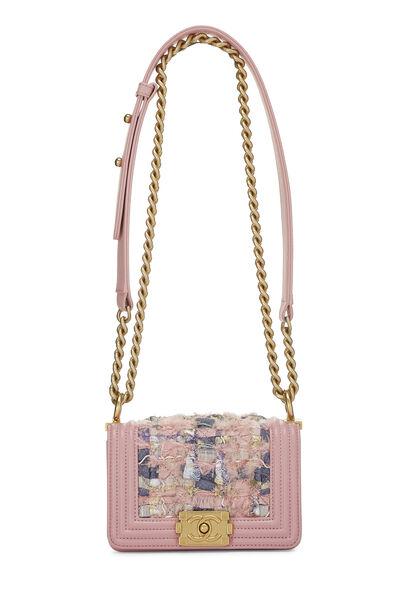 Pink Calfskin & Multicolor Tweed Boy Bag Mini, , large