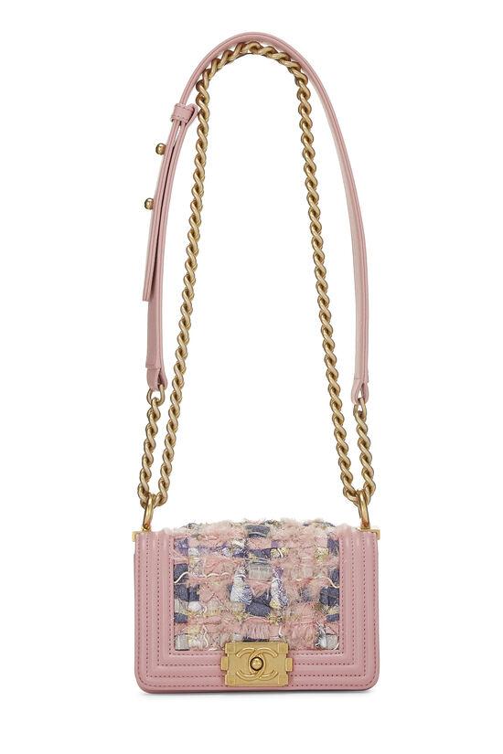Pink Calfskin & Multicolor Tweed Boy Bag Mini, , large image number 1