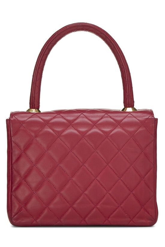 Burgundy Quilted Lambskin Top Handle Small, , large image number 3