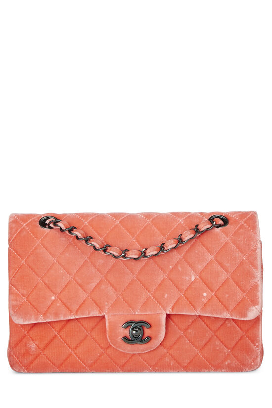 Coral Quilted Velvet Classic Double Flap Medium, , large image number 0