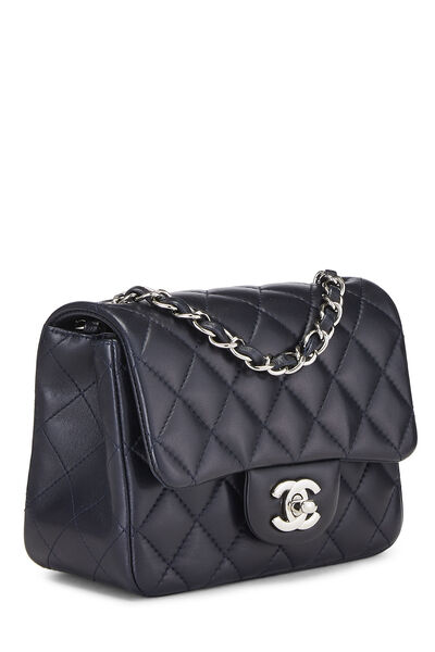Navy Quilted Lambskin Classic Square Flap Mini, , large