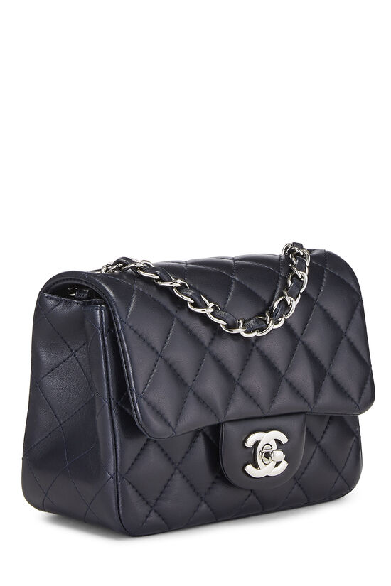 Navy Quilted Lambskin Classic Square Flap Mini, , large image number 1