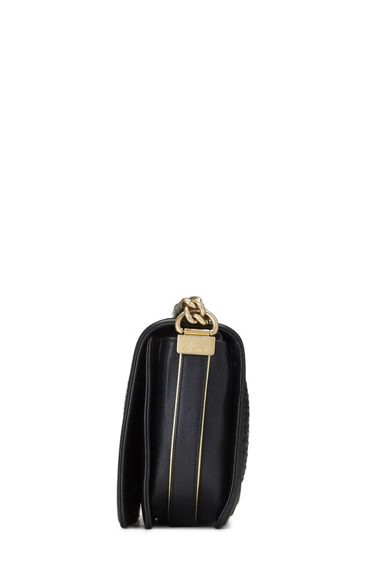 Black Woven Calfskin Reverso Boy Bag Medium, , large image number 3
