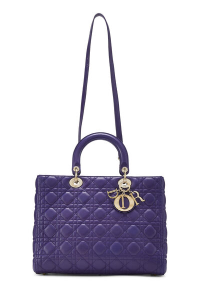 Purple Cannage Quilted Lambskin Lady Dior Large, , large