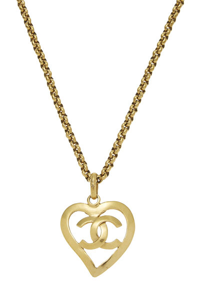 Gold CC Open Heart Necklace, , large
