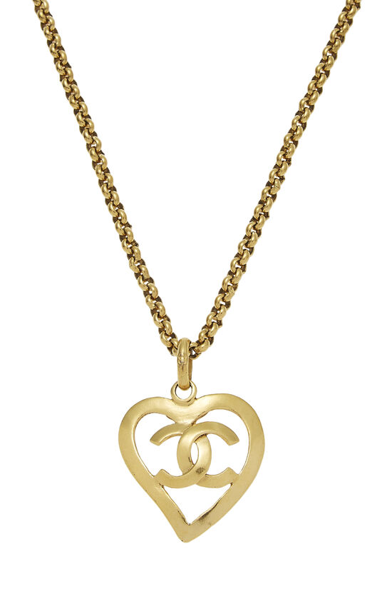 Gold CC Open Heart Necklace, , large image number 1