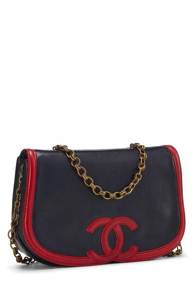 Navy & Red Lambskin 'CC' Shoulder Bag, , large