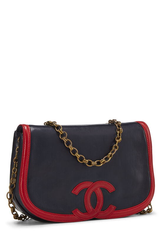 Navy & Red Lambskin 'CC' Shoulder Bag, , large image number 1