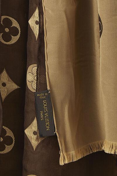 Brown & Gold Monogram Silk Scarf, , large