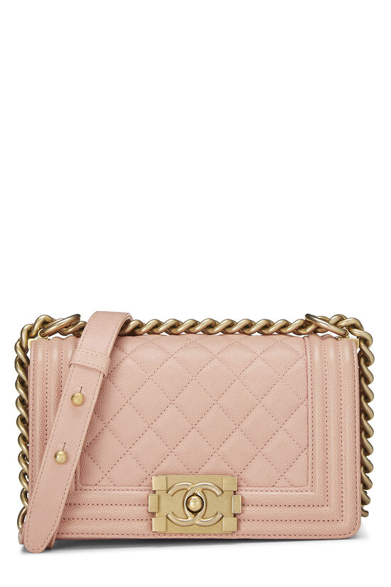 Pink Quilted Caviar Boy Bag Small, , large image number 0