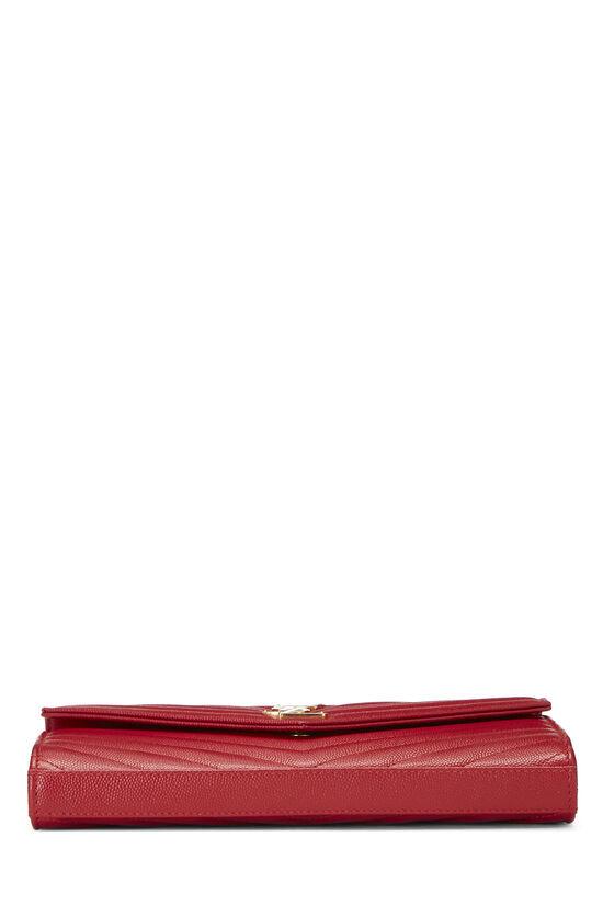 Red Chevron Calfskin Monogram Chain Wallet, , large image number 5