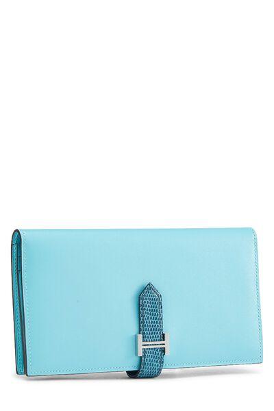 Aqua Lizard & Leather Bearn Wallet, , large
