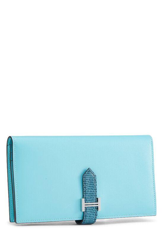 Aqua Lizard & Leather Bearn Wallet, , large image number 1