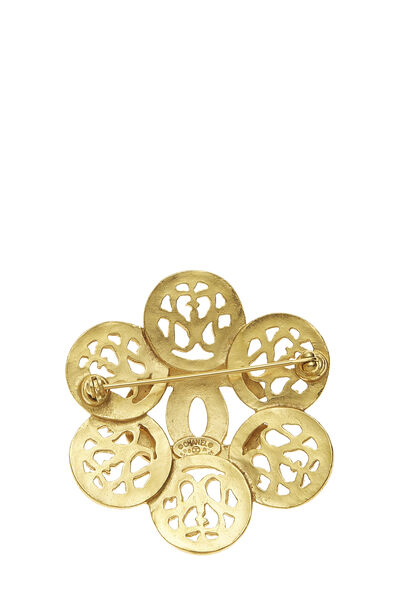 Gold 'CC' Floral Cutwork Pin, , large