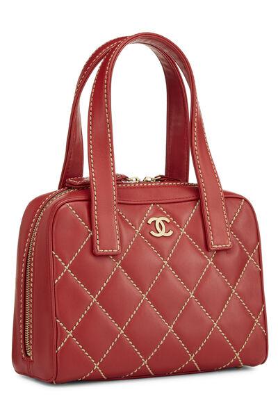 Red Leather Wild Stitch Boston Handbag, , large