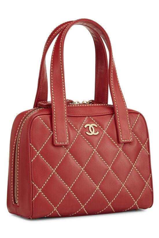 Red Leather Wild Stitch Boston Handbag, , large image number 1