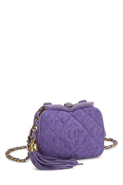 Purple Quilted Tweed Kiss Lock Belt Bag, , large