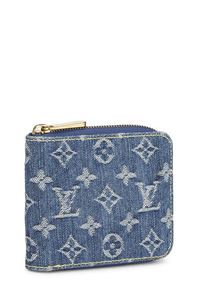 Blue Monogram Denim Compact Zip Wallet, , large