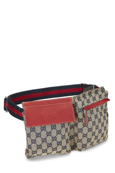 Red & Navy GG Canvas Belt Bag, , large