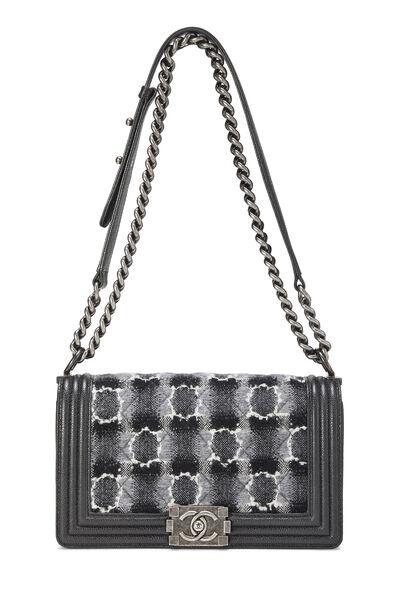 Black Leather & Tweed Boy Bag Medium, , large