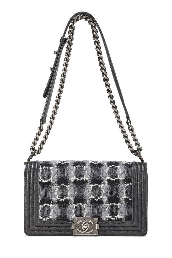 Black Leather & Tweed Boy Bag Medium, , large image number 1