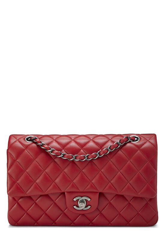 Red Quilted Lambskin Classic Double Flap Medium, , large image number 0