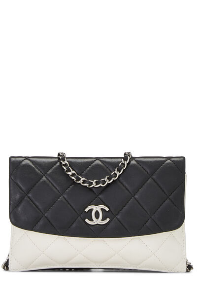 Black & White Quilted Lambskin Double Sided Wallet On Chain (WOC)